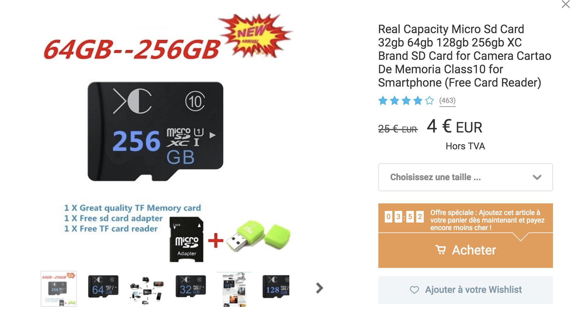 Une carte microSD à 4 euros ? Go go go !