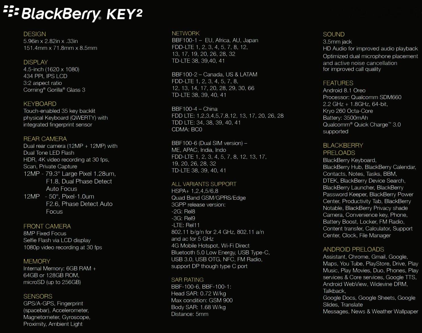 Les Caractéristiques Du Blackberry Key2 En Fuite Légère Montée En