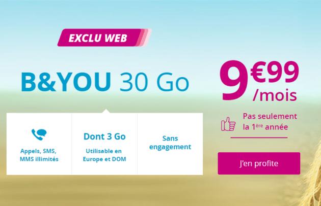 Bon plan : forfait sans engagement B&You 30 Go à 9,99 euros par mois à vie