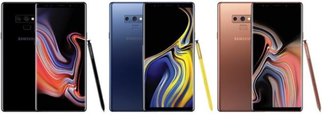 Samsung Galaxy Note 9 : voici les rendus presse des trois coloris prévus