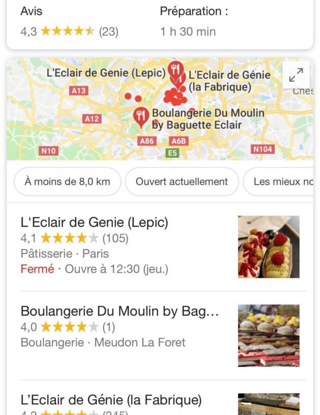 Exemple de résultats sur Google depuis mon smartphone