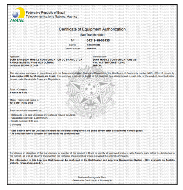 Le certificat délivré par ANATEL