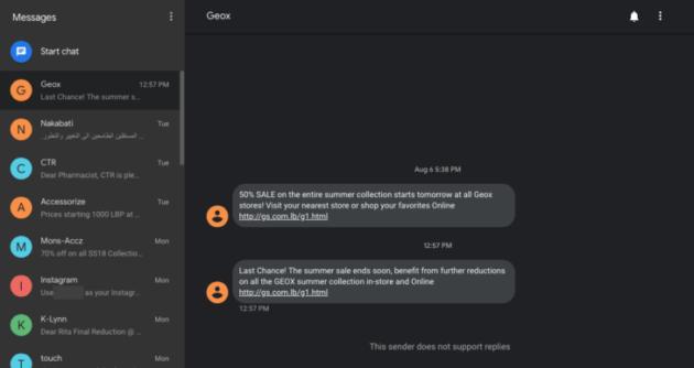 Android Messages adopte le thème sombre AUSSI sur le web
