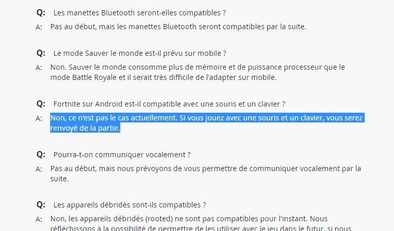 Capture d'écran de la FAQ de Fortnite. On apprend également que les manettes Bluetooth seront compatibles par la suite.