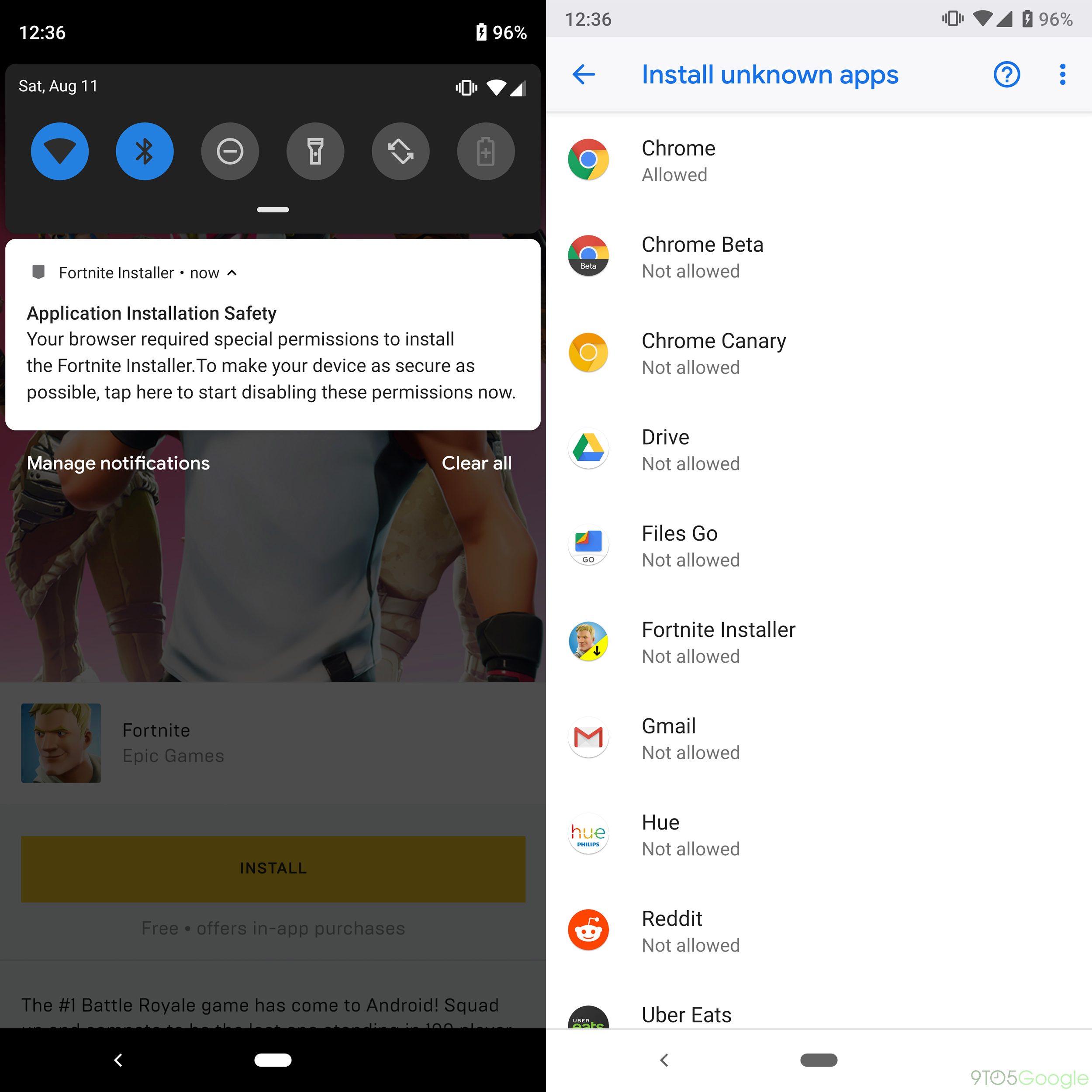 Bienveillant, Fortnite sur Android conseille de désactiver l