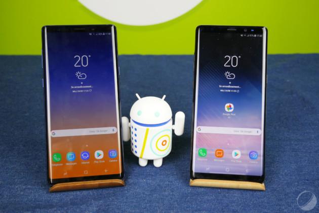 Le Note 9 à gauche, le Note 8 à droite