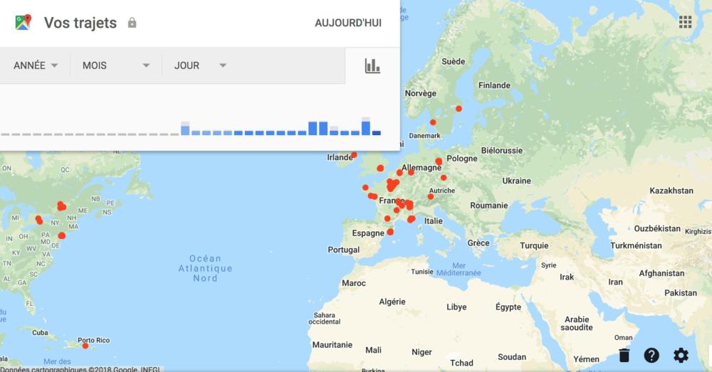 Exemple de localisation de mes trajets personnels depuis mon compte Google