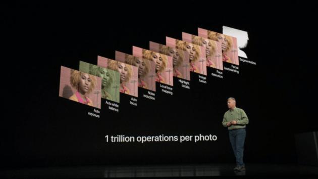 Présentation des opérations calculées par le processeur A12 lors de la dernière keynote Apple