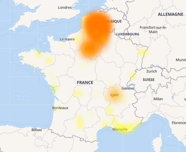 Dans la nuit du 6 au 7 septembre, le problème ne touchait plus que les régions de Paris et Lille. La panne est maintenant résolue. (Source DownDetector)