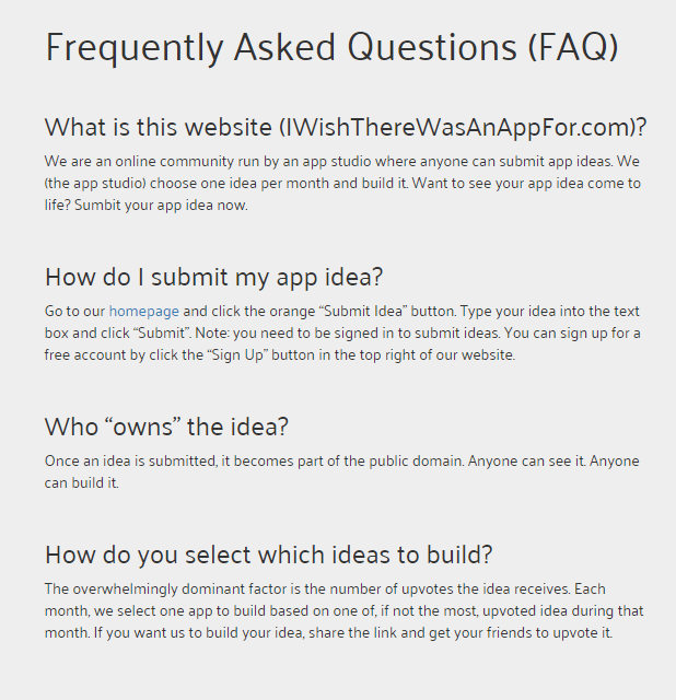 La FAQ d'I Wish There Was An App For.
