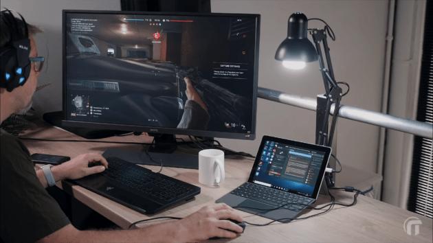 Battlefield V sur une Surface Go grâce au cloud gaming. Crédit : Nowtech