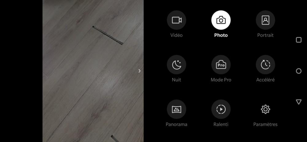 Les différents modes de l'application photo du OnePlus6T