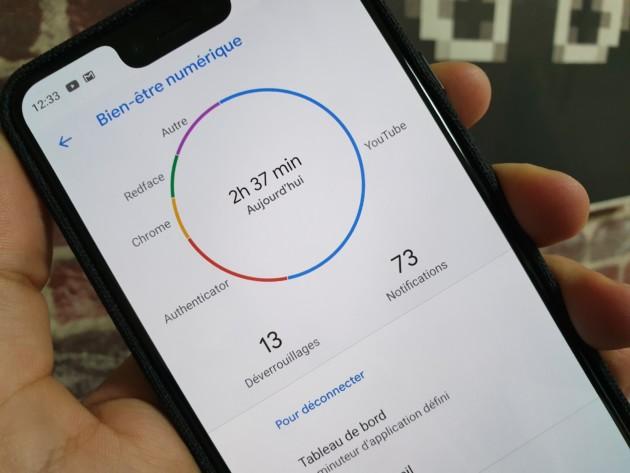 L'application Bien-être numérique sort de sa bêta, ici sur le Google Pixel 3 XL.