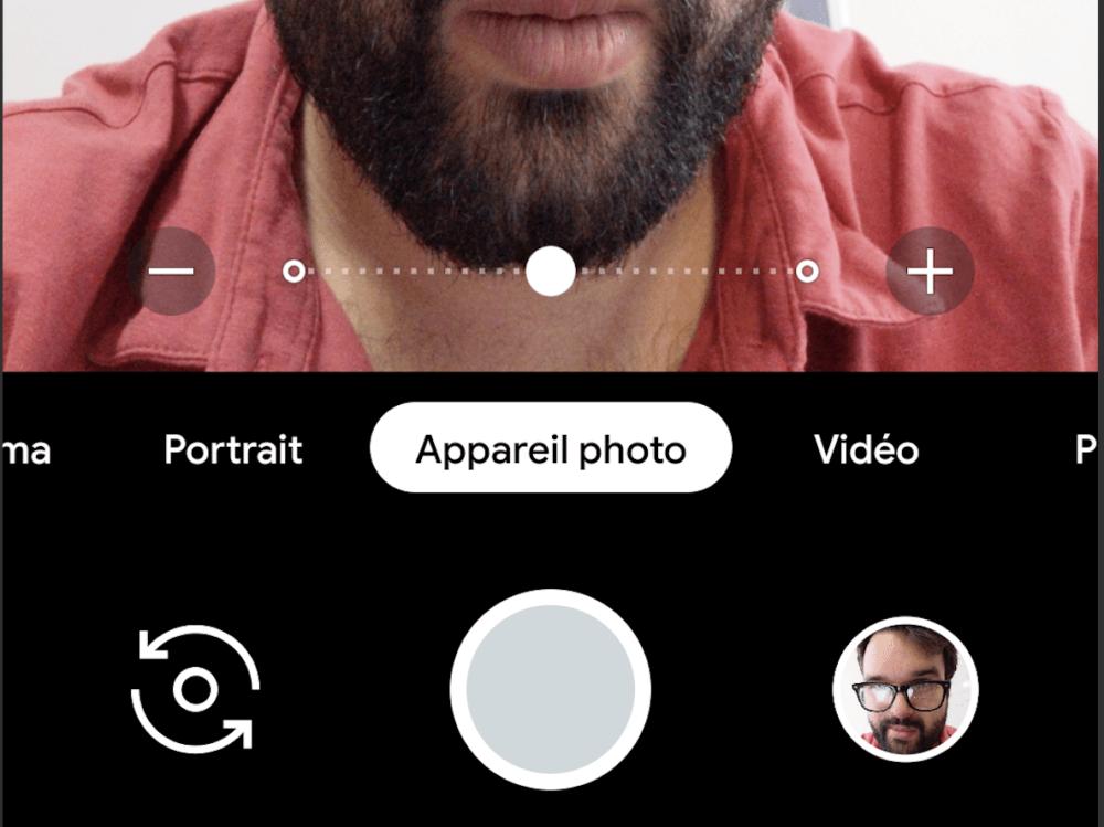 Le petit curseur vous permet d'ajuster l'angle de vision nécessaire pour votre selfie