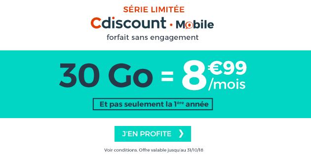 Cdiscount Mobile propose en ce moment un forfait mobile illimité à prix cassé: 30Go pour 8,99euros par mois. L'offre, déjà très intéressante, n'expire pas au bout de 6 mois ou d'un an, mais est valable sans durée et sans engagement! Pourquoi cette offre est intéressante et comment en profiter? On vous dit tout !