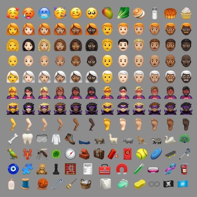 Les nouveaux emoji de iOS12.1. Crédit: Emojipedia