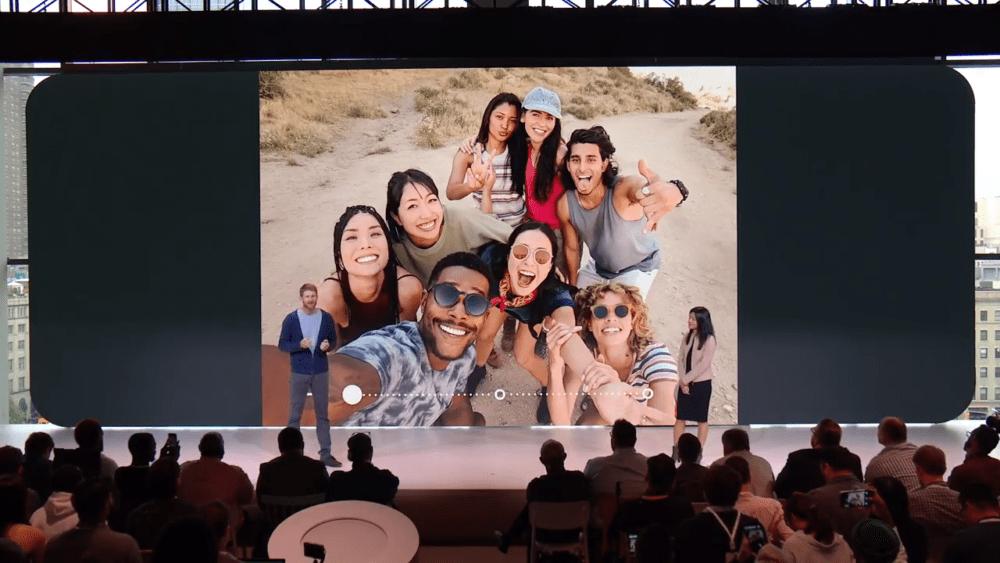 Google présentant l'intérêt des selfies de groupes à l'officialisation des Pixel 3