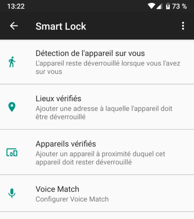 Smart Lock offre quelques options… mais le déverrouillage facial n'est pas proposé