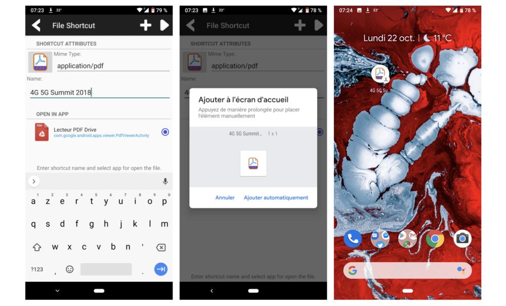 Comment créer des raccourcis sur Android (fichiers, dossiers, applications, réglages, etc.) ?