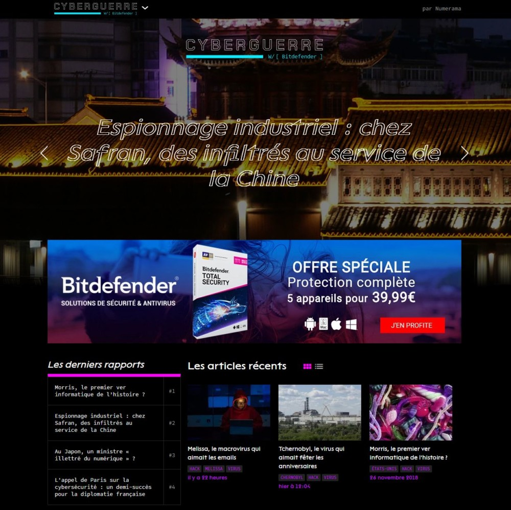La homepage de Cyberguerre.