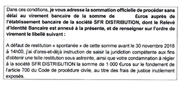 Les ex-employés de SFR s'exposent à une condamnation de 1000euros en cas de non-respect des délais de remboursement. (Image: Les Jours).