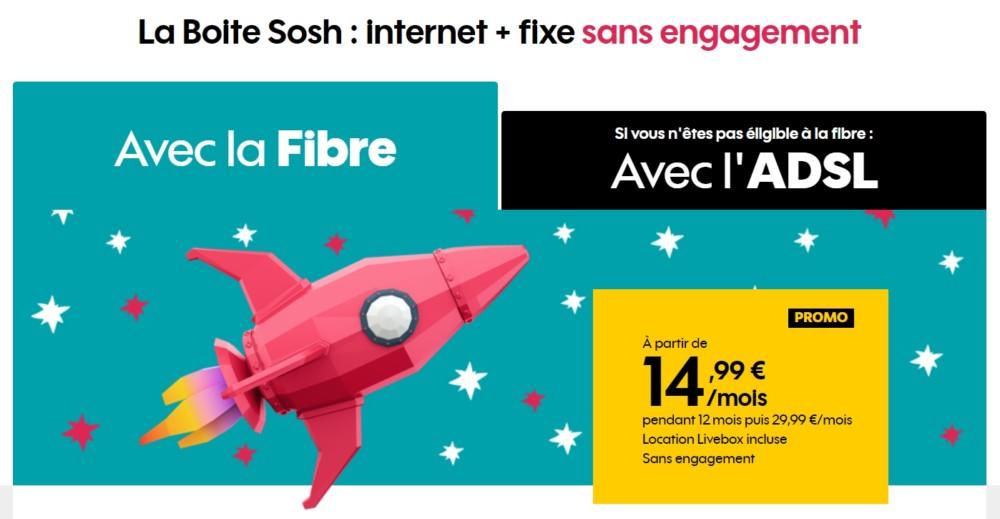 bon plan l 39 abonnement internet fibre la bo te sosh 14 99 euros par mois pendant 1 an frandroid. Black Bedroom Furniture Sets. Home Design Ideas