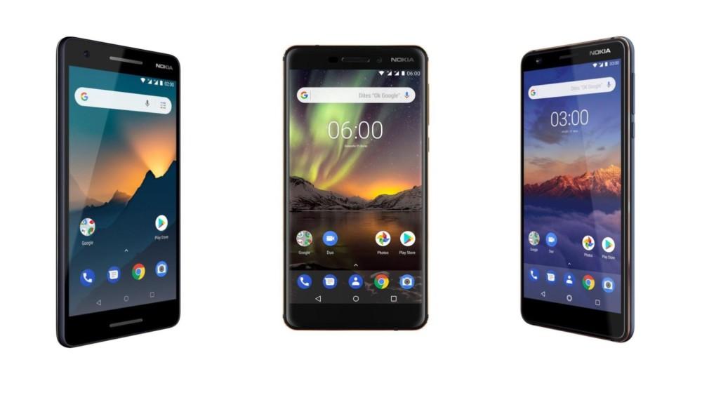 De gauche à droite: le Nokia2.1, le Nokia6.1 et le Nokia3.1