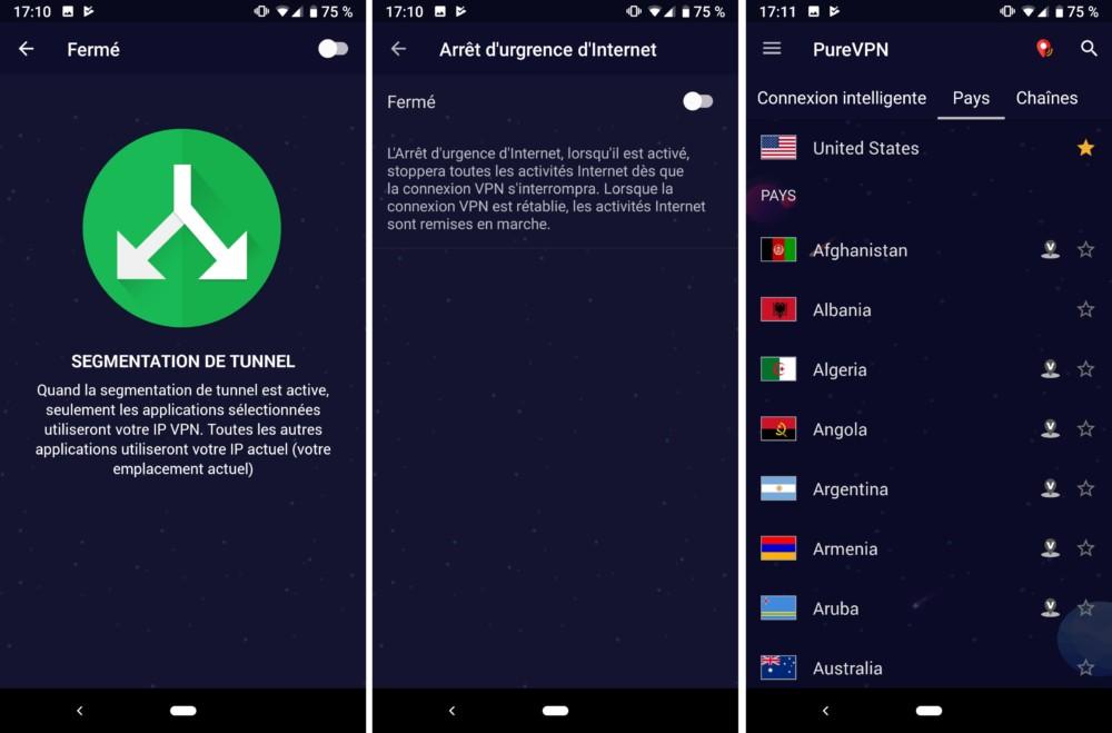 Quelques-unes des fonctionnalités intégrées à l'application Android PureVPN.