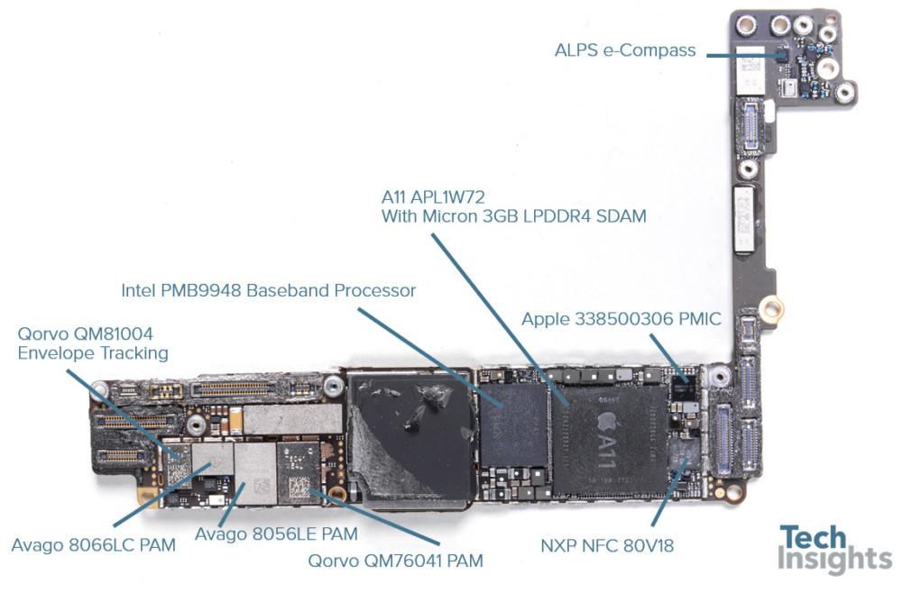 Sur l'iPhone 8, on peut apercevoir les composants fournis par Qorvo et Intel