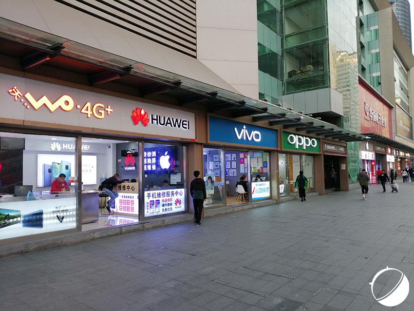 Des boutiques physiques de smartphones à Shenzhen