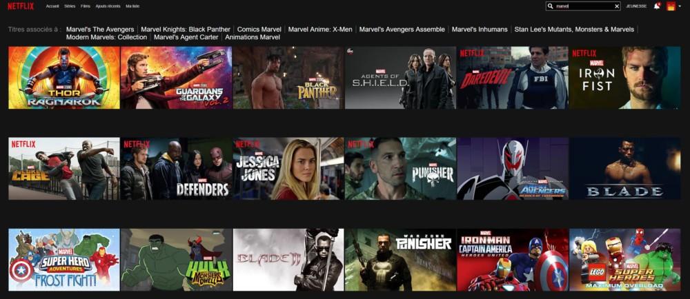 Quelques-uns des films Marvel qu'il est possible de voir sur le catalogue américain de Netflix.