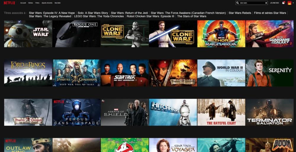 Voilà quelques-uns des films que l'on peut voir sur Netlflix US en tapant Star Wars dans le moteur de recherche.