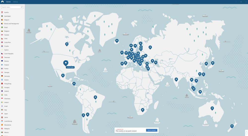 Voici la page d'accueil de l'application Windows de NordVPN. Il suffit de choisir un pays pour déporter ensuite virtuellement sa connexion sur ce territoire.