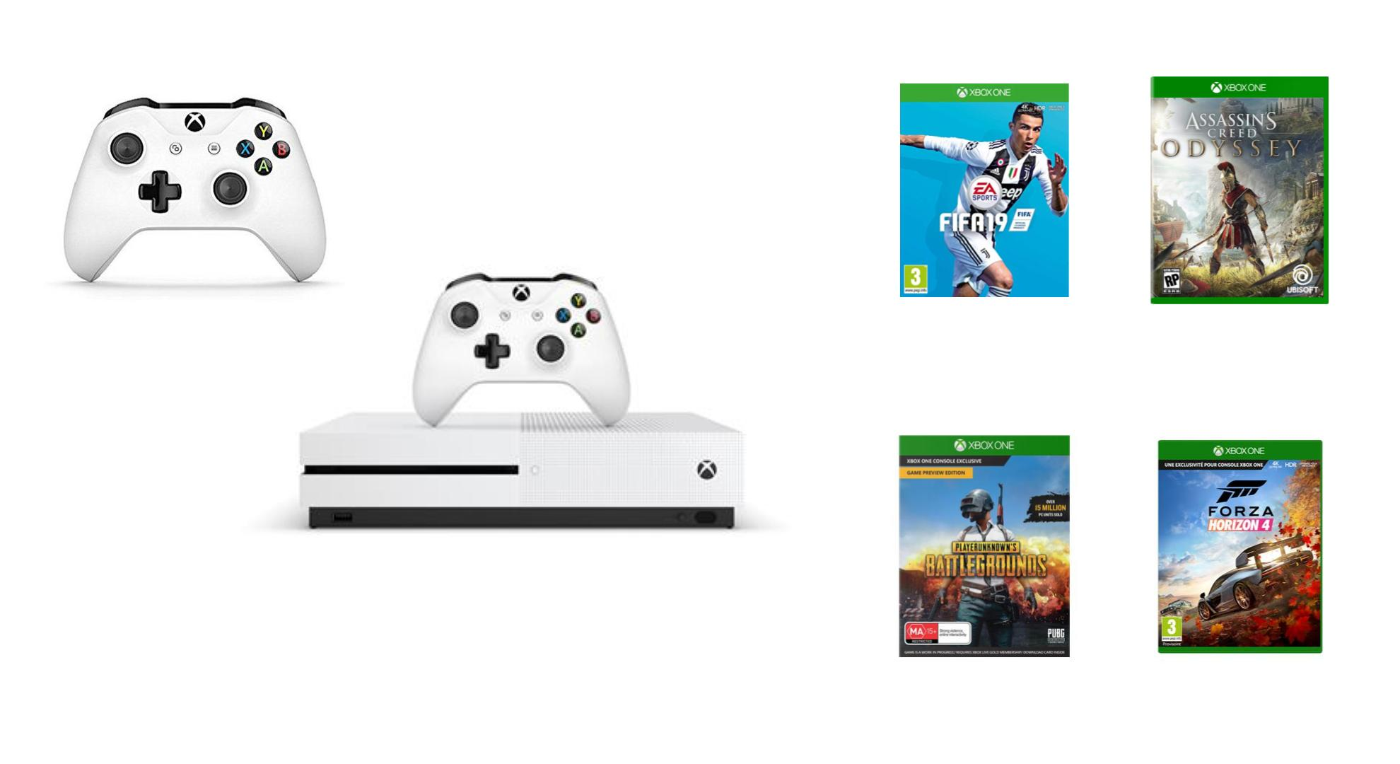 bon plan pack xbox one s avec 4 jeux dont assassin 39 s creed odyssey 2 manettes 299 euros. Black Bedroom Furniture Sets. Home Design Ideas