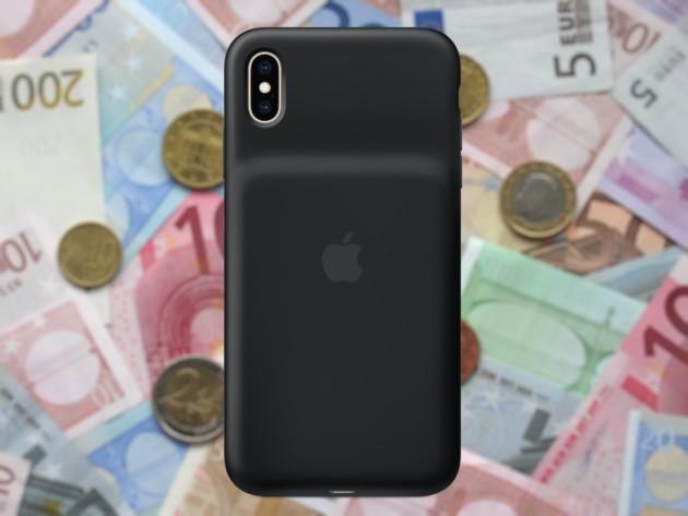 La coque batterie pour iPhone XS, avec des billets en euros au fond