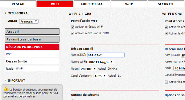 La grande majorité des box Internet des opérateurs permettent de modifier le canal du WiFi (ici la RED Box de RED by SFR).
