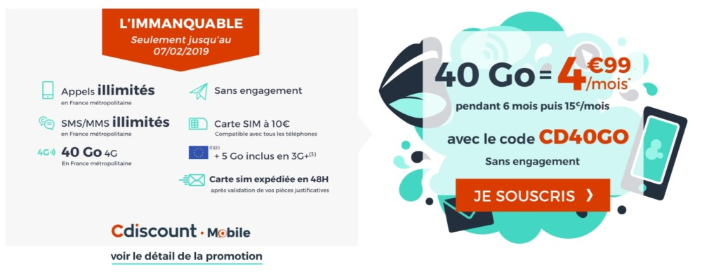 🔥 Bon plan : le forfait Cdiscount Mobile 40 Go passe à 4,99 euros par mois pendant 6 mois