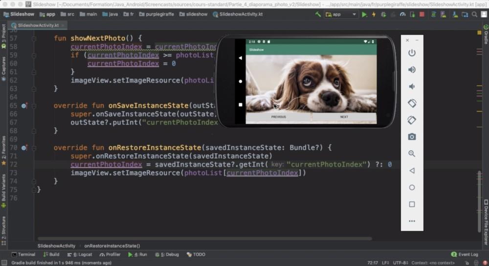 Un extrait du cours sur la gestion des rotations d'écran dans l'application de diaporama photo.