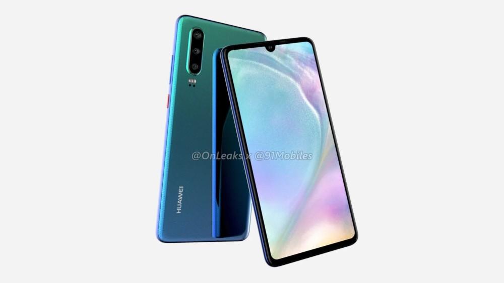 Le Huawei P30 selon le rendu de OnLeaks et 91Mobiles