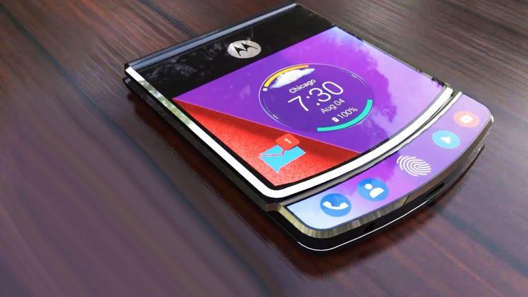 Un rendu d'artiste du smartphone pliable de Motorola, pour illustration