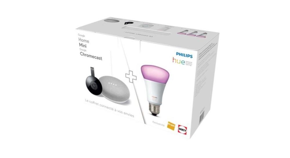 🔥 Bon plan : un pack Google Home Mini + Chromecast + 3 ampoules Philips Hue à 199 euros