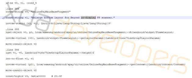 Le code de Samsung Pay mentionne un lecteur d'empreinte sous la surface de l'écran