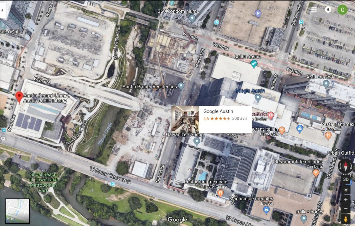 À gauche, la bibliothèque centrale. À droite, les bureaux actuels de Google. Entre les deux, de gigantesques chantiers laissant présager l'arrivée d'une expansion.