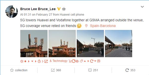 Capture d'écran du post de Bruce Lee sur Weibo.