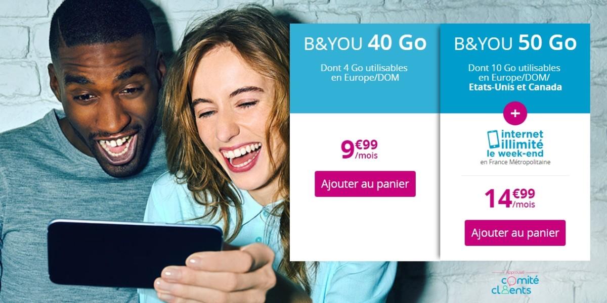 🔥 Bon plan : forfaits mobile B&You 50 Go (illimité le week-end) à 14,99 euros et 40 Go à 9,99 euros