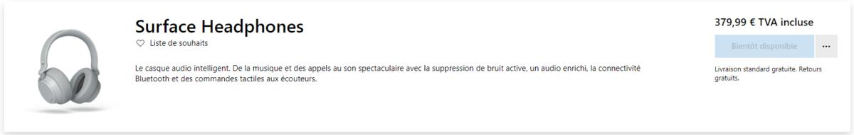Capture d'écran de la page produit française du Microsoft Surface Headphones