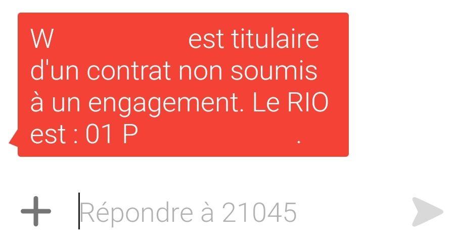 Une fois appelé le 3179, le numéro RIO est automatiquement envoyé par SMS avec un rappel de la période d'engagement.