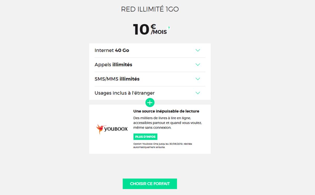 Le forfait 40 Go Red by SFR ne comprend que l'essentiel, à savoir les appels et SMS illimités, 40 Go de data , 4 Go de data à l'étranger et un abonnement gratuit et temporaire à Youboox.