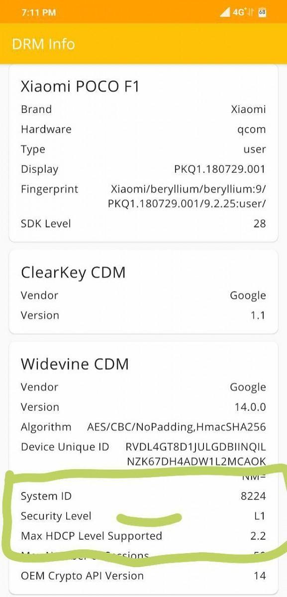 Le Pocophone F1 certifié Widevine L1. Crédit : XDA-Developers.