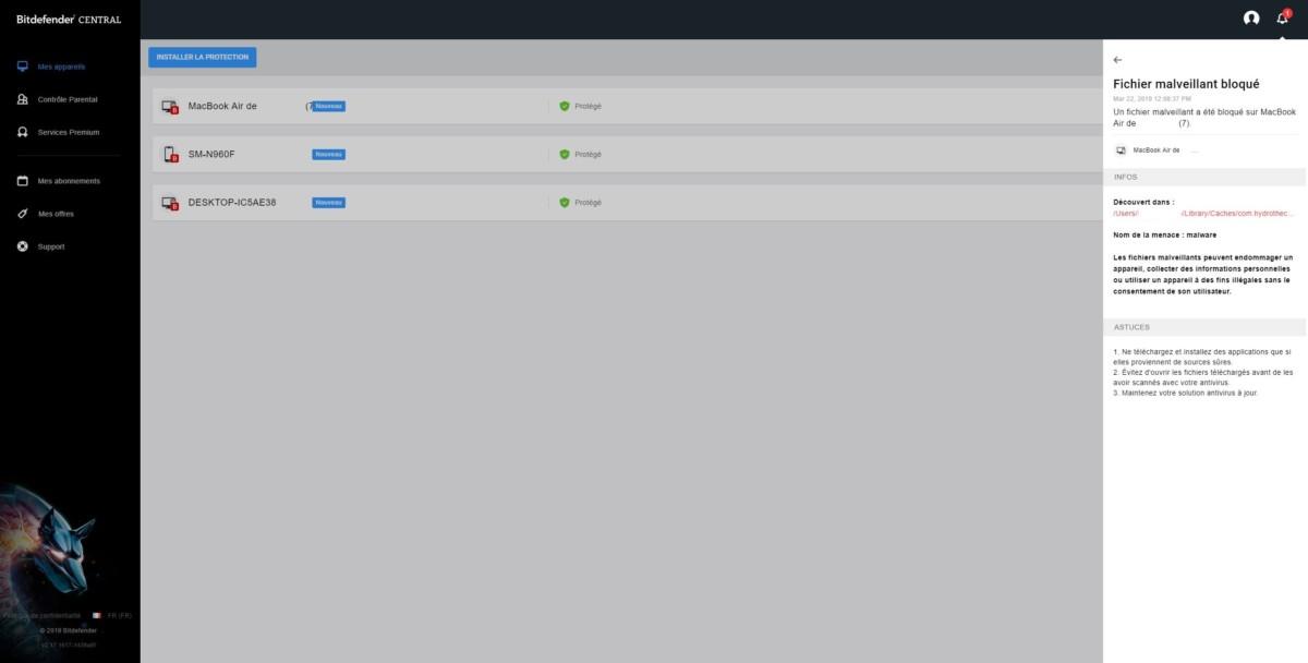 Bitdefender Central permet d'être prévenu si l'un des appareils protégés par Bitdefender contient des fichiers suspects.